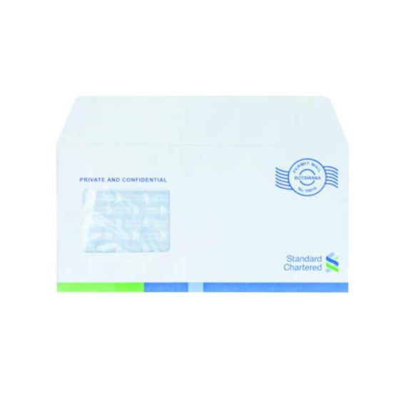 Banker Envelopes DL Maxi 115x230 90gsm White Opaque Window Front