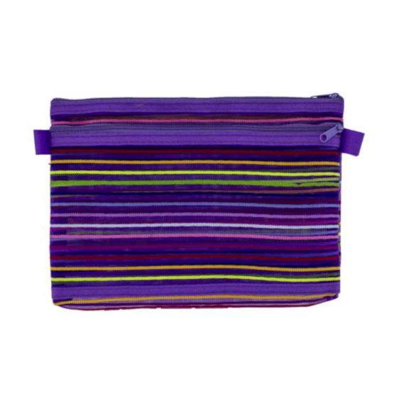 Book Bags A5 Mesh Striped Zipper Bag Purple
