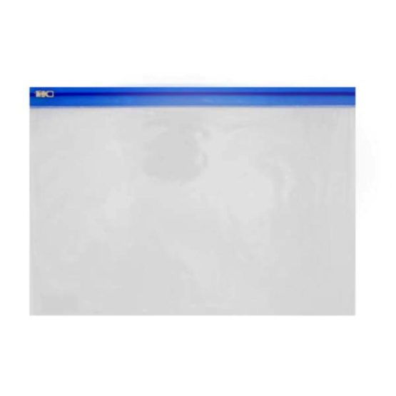 Book Bags PVC Clear Zip Bag with Blue Zip Front View